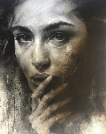 Portrait on canvas glued onto panel