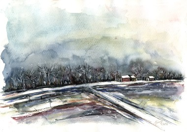 Murky Winter Afternoon - watercolor and ink on paper