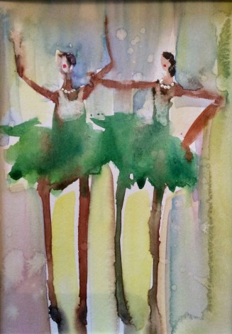 Little girls Dancing ballerinas  Loosely painted  Woman