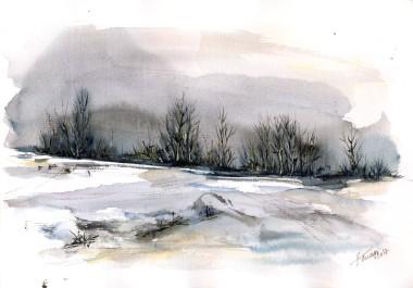 Winter Landscape watercolor on paper