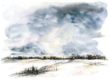 Clouds on the Horizon watercolor and ink on paper