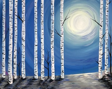 Silver Birches Moonlight