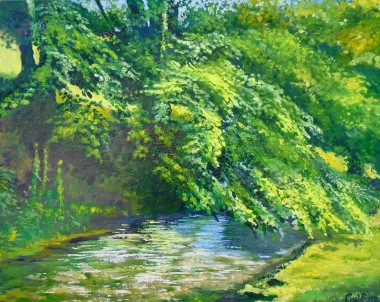 Peaceful stream, trees gardens water sunlight and shadow green, affordable oil painting