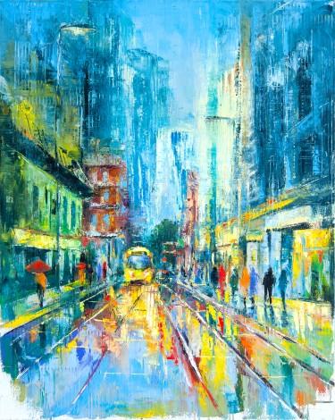 city, manchester, street, light, tram, lockdown, rain, people, urban, buildings, umbrella, raining