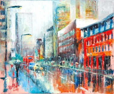 city, manchester, street, light, tram, lockdown, rain, people, urban, buildings, umbrella, raining, bus