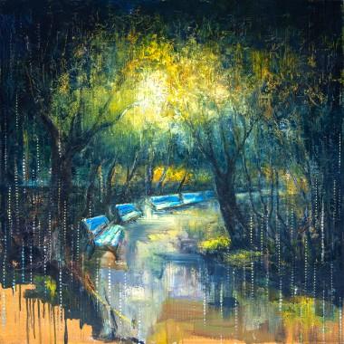 garden, night, city, manchester, street, light, bench, park, trees, lockdown, evening, urban, moonlight, moon