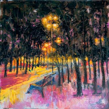 garden, night, city, manchester, street, light, bench, park, trees, lockdown, evening