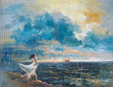 seascape, landscape, beach, shore, woman, sky, storm, stormy,