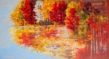 autumn, fall, reflection, colours, lake, district, leaves, sky