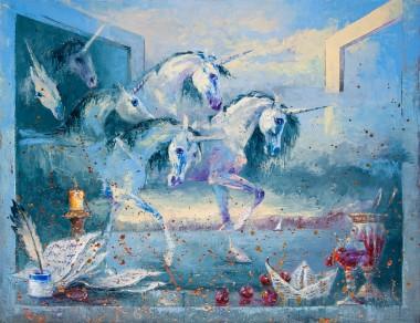 unicorn, fantasy, dream, covid, escape, lockdown, window, seascape, clouds, wine, dream