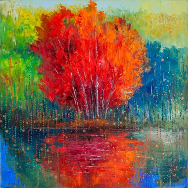 season, autumn, fall, reflection, colours, lake, district, leaves, tree