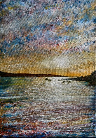 Sunset and Boats acrylic painting