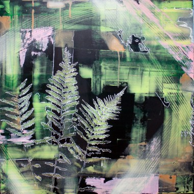 Abstract with fern in green and pink, painting, ferns, nature, plants, emotional, contemporary art
