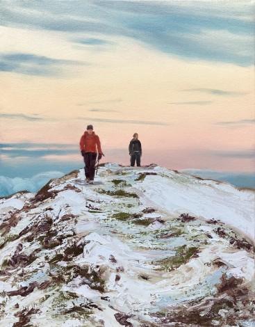 Winter Summit Sunset, winter Mountaineering, Caer Caradoc,