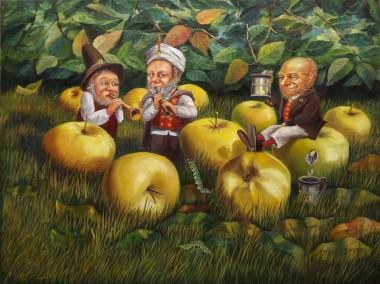 Surrealistic oil painting Apple Juice