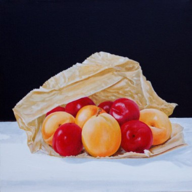 Apricots and Plums in a brown paper bag
