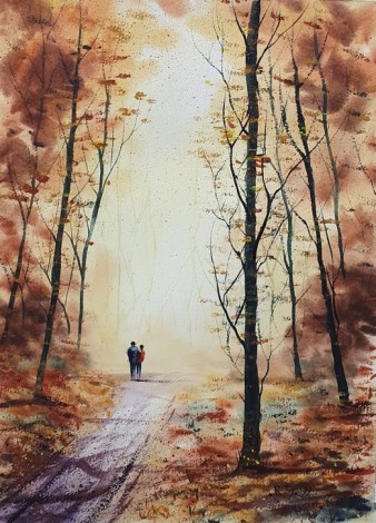 Autumn - Original watercolour painted by Ricky Figg Walk in the woods