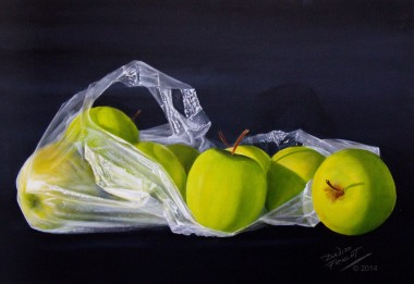 Bag of Golden Delicious apples
