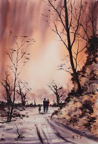 Before the Storm - Original watercolour painted by Ricky Figg - Walking the dog in the woods