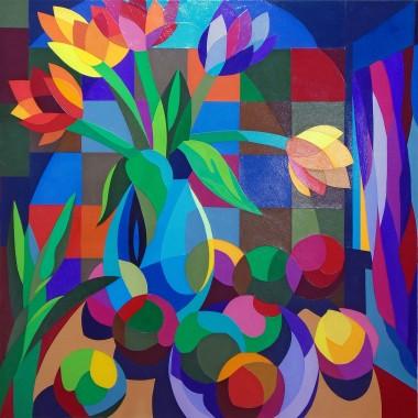 Still Life:  Flowers in a Blue Vase