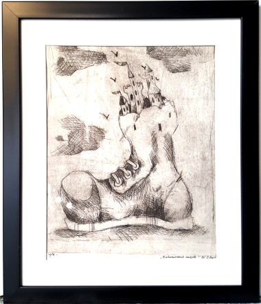 Drypoint, etching , press print on paper, original graphic, illustration, art, black and white, traditional press print, town, boots, framed art