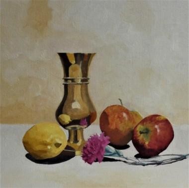 Brass Vase with Carnation