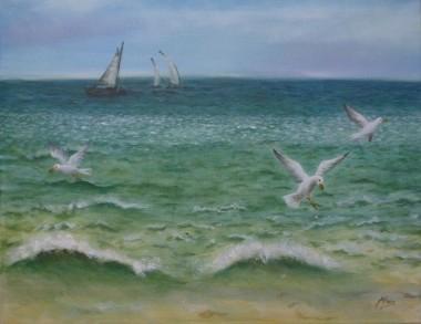 Brighton Gulls Seascape