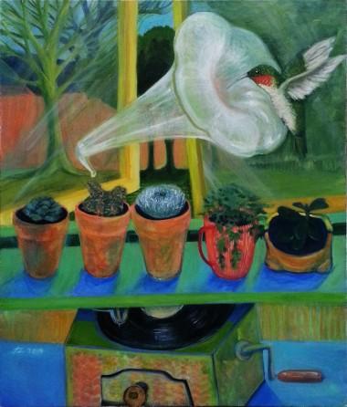 surreal still nature, cactus, gramophone, green, succulents plants display, hummingbird