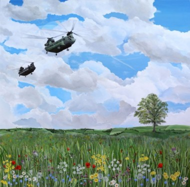 Chinook helicopters over countryside, Salisbury Plain