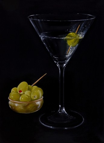 Cocktail Glass with Olives