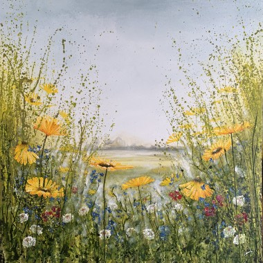 Wild flower meadow painting