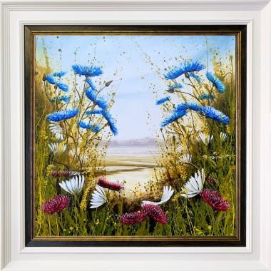 Cornflower Daisy Meadow Framed