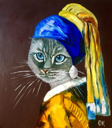 Blue British Cat   with The Pearl Earring