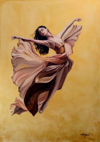 Portrait of a dancer made with oil colors on a golden background