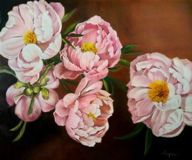 Delicate pink peonies, painted with oil colors on canvas