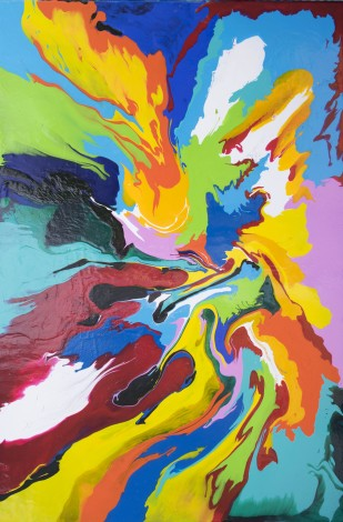 Abstract painting on canvas, ready to hang