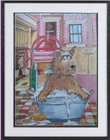dog in bath framed