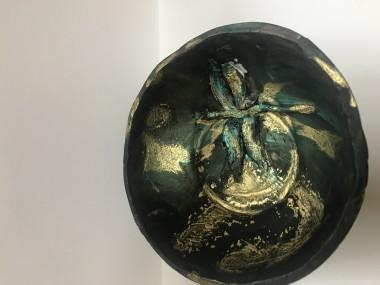 sculpture black gold dragonfly bowl