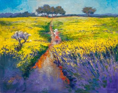 lavender, field, meadow, tree, nature, landscape, countryside, bike, girl, rapeseed