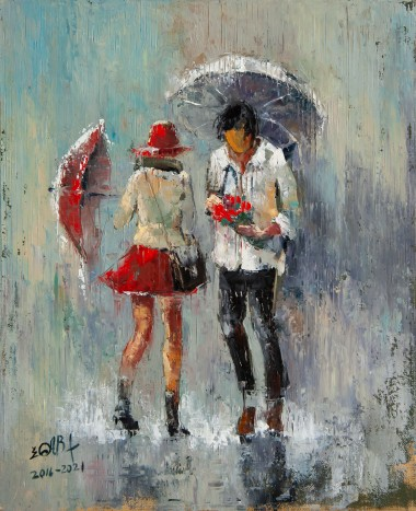 umbrella, rain, couple, running, city, town, street, raining, love, red, dress, girl, boy, bike, date, meeting, seasons, spring, autumn