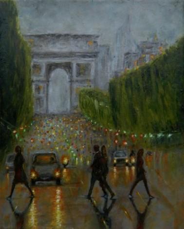 Champs elysees ,arc de triomphe Paris at dus