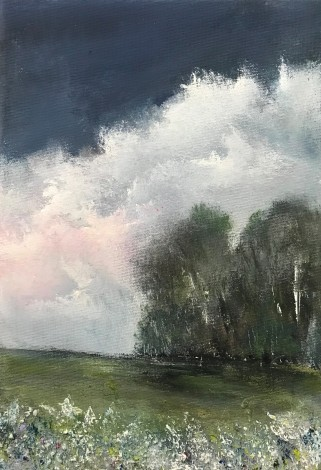 Landscape trees sky clouds flowers impressionist