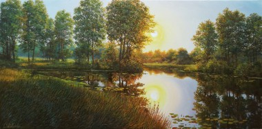 Evening landscape original oil painting