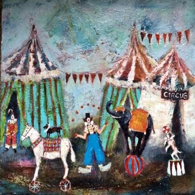 Clowns elephant dog horse fairground ferris wheel