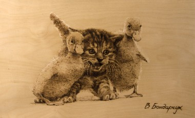 Пацаны, дети, животные, утята, котята