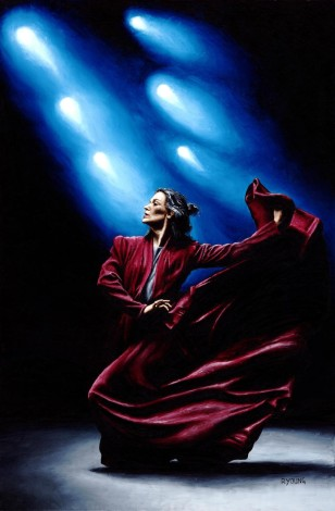 Fine art original oil painting of a beautiful, pasionate, flamenco dancer on stage
