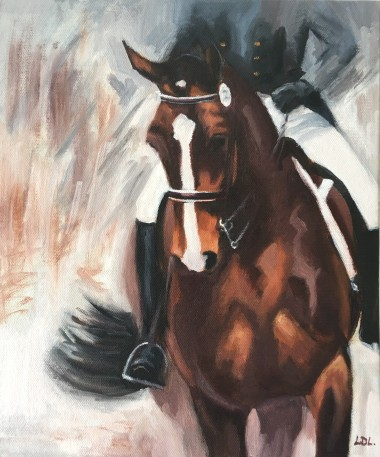 Bay Dressage Horse Oil painting