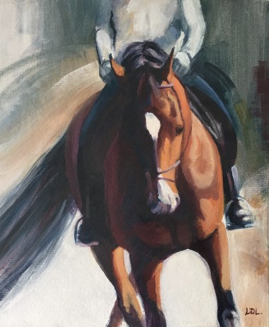 Bay horse and rider oil painting