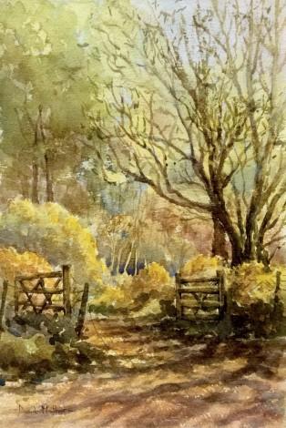 Open gate watercolour by David Mather