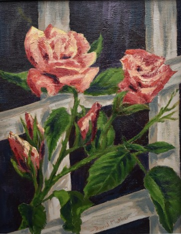 Climbing Roses oil painting by David Mather